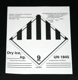INF-9836 Infecon Dry Ice Class 9 Label