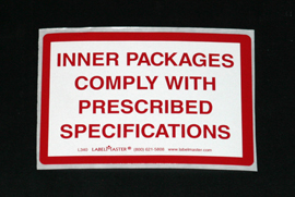 INF-9838 Infecon Inner Packaging Complies Label